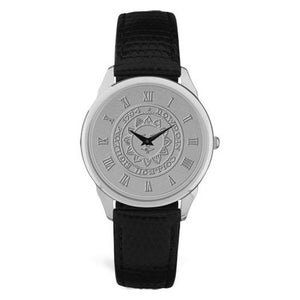 Silver wrist watch with black leather strap. Face is engraved wth Bowdoin sun seal.