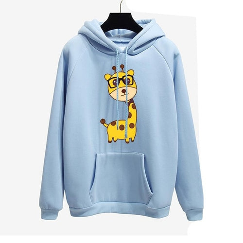 Cartoon Giraffe with Glasses Pullover Hoodie