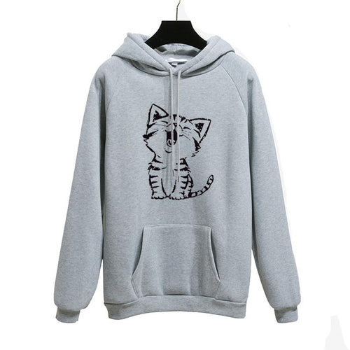 Cartoon Kitten Pullover Hoodie