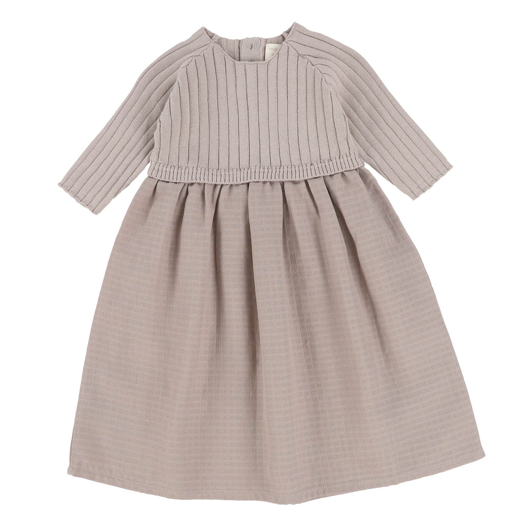 Analogie by Lil Legs Dress Jellybeanzkids Analogie by Lil Legs Taupe 3/4 Sleeve Knit Dress