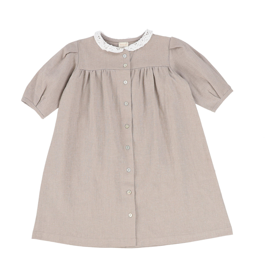 Analogie by Lil Legs Dress Jellybeanzkids Analogie by Lil Legs Taupe 3/4 Sleeve Linen Collar Dress