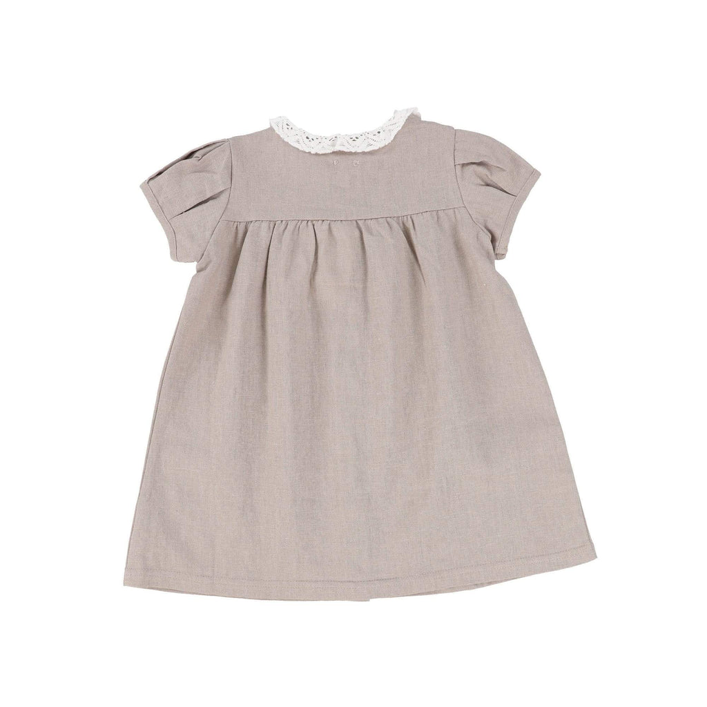 Analogie by Lil Legs Dress Jellybeanzkids Analogie by Lil Legs Taupe Short Sleeve Linen Collar Dress
