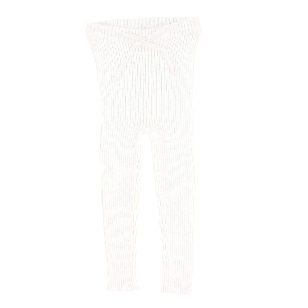 Analogie White Knit Long Leggings - JellyBeanz Kids