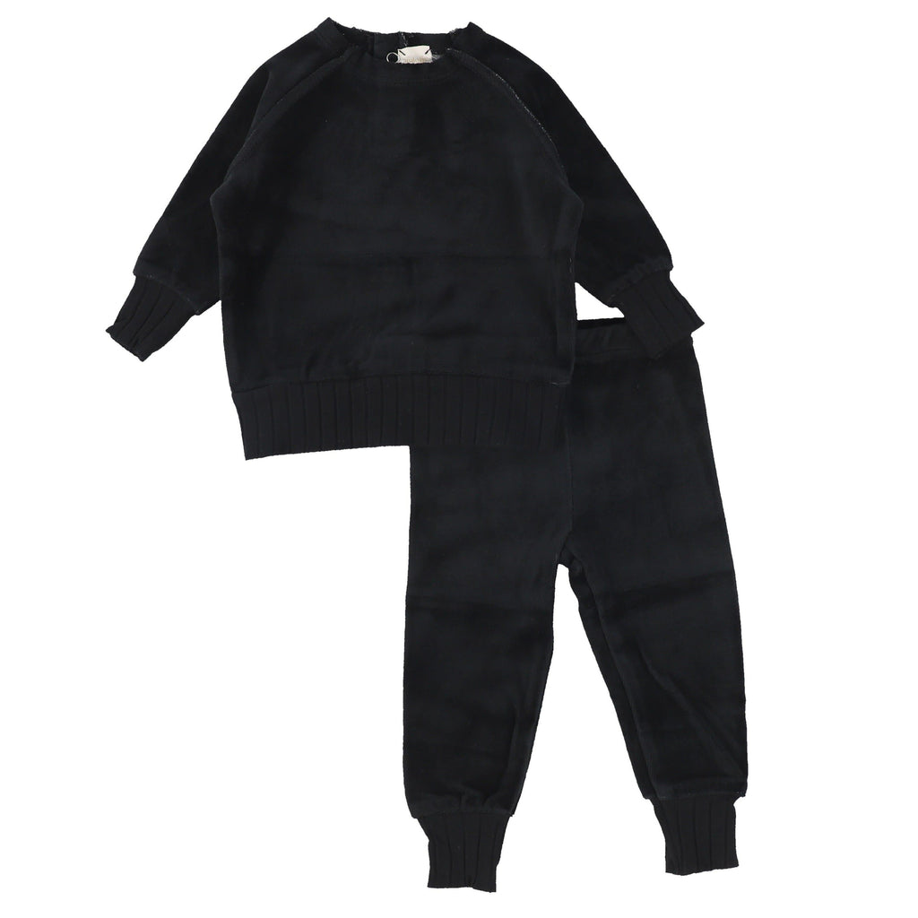 Analogie by Lil Legs Black Velour Set