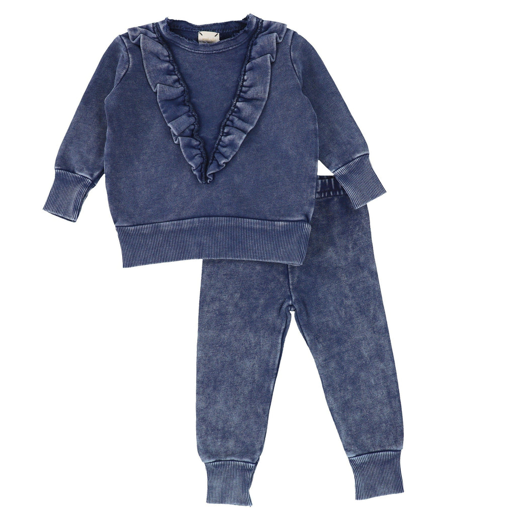 Analogie by Lil Legs Set Jellybeanzkids Analogie by Lil Legs Blue Wash Denim Ruffle Set