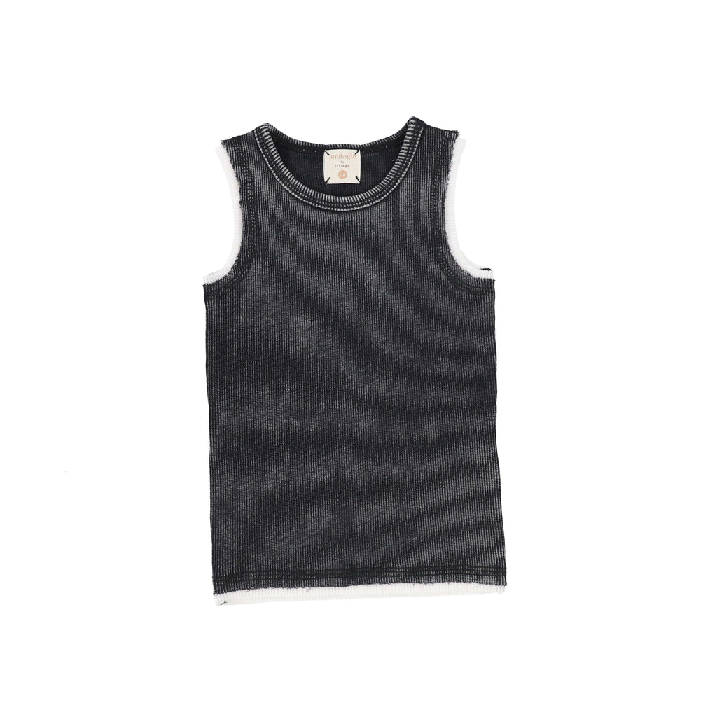 Analogie by Lil Legs Tank Top Jellybeanzkids Analogie Black Wash Tank