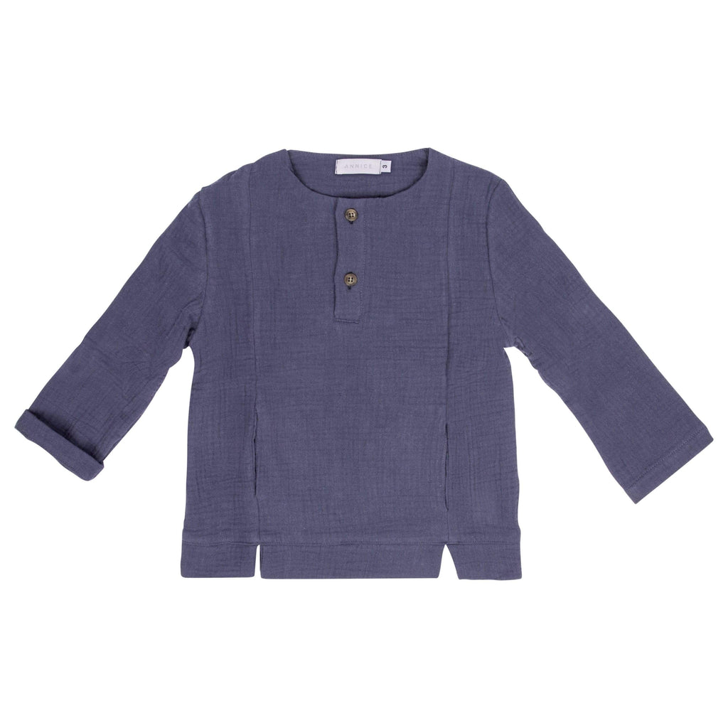 Annice Annice Grey Blue Double Gauze Pocket Shirt  JellyBeanz Kids