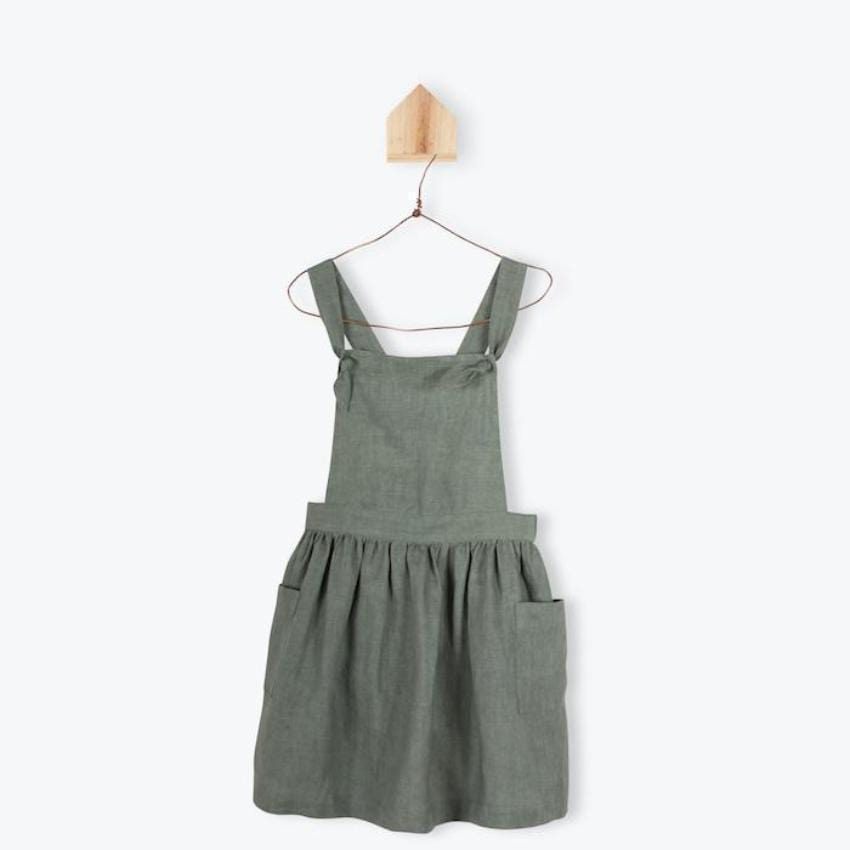 Arsene Linen Apron Dress  JellyBeanz Kids