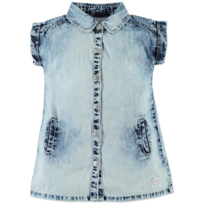 Babyface Bleached Denim Shirt Dress  JellyBeanz Kids