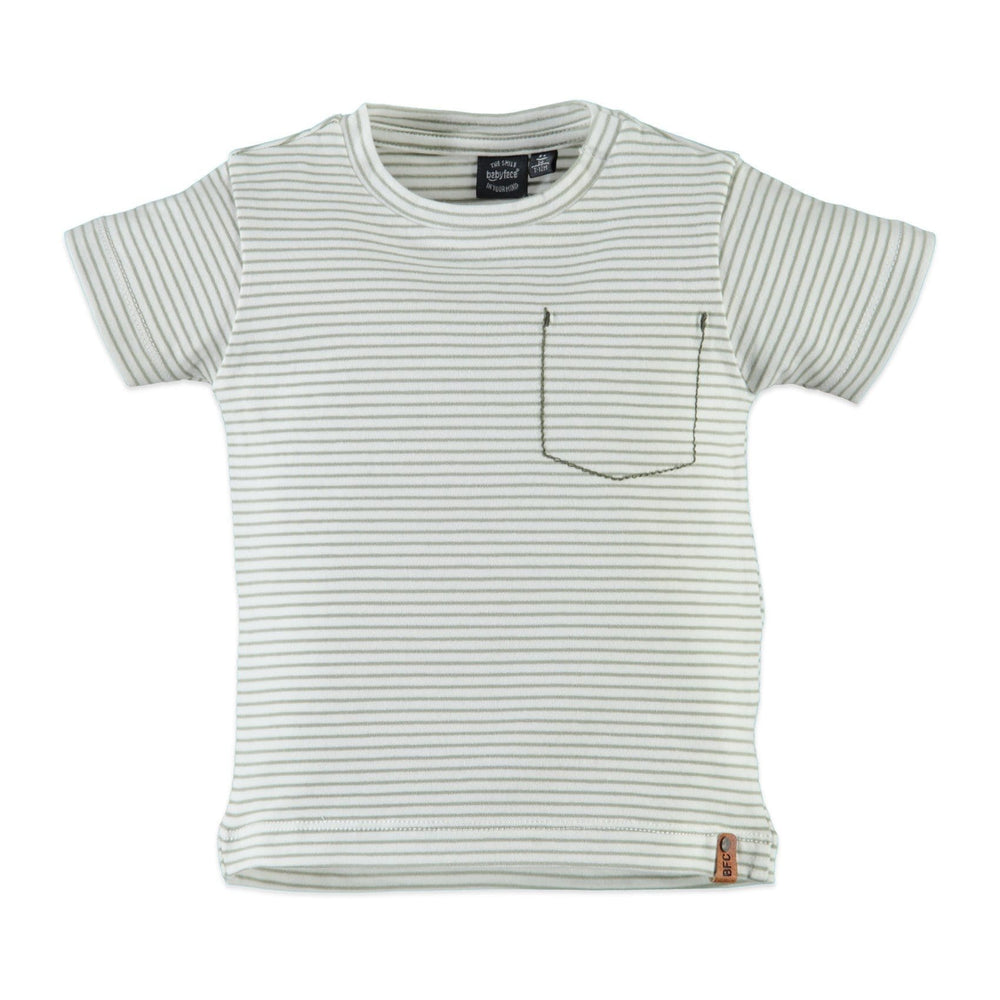 Babyface Striped Olive Tee  JellyBeanz Kids
