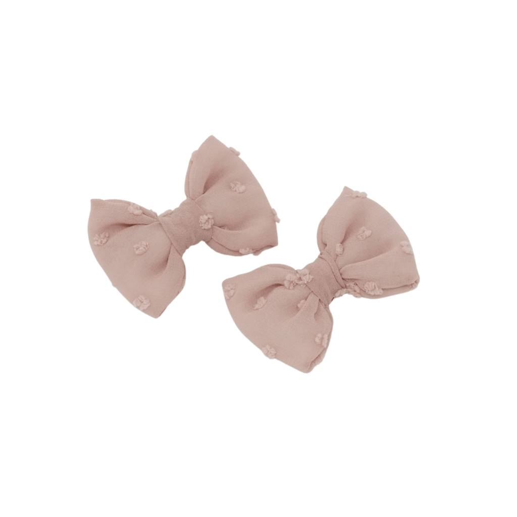 Bandeau Accessories Jellybeanzkids Bandeau Blush Swiss Dot Mini Bow Clips
