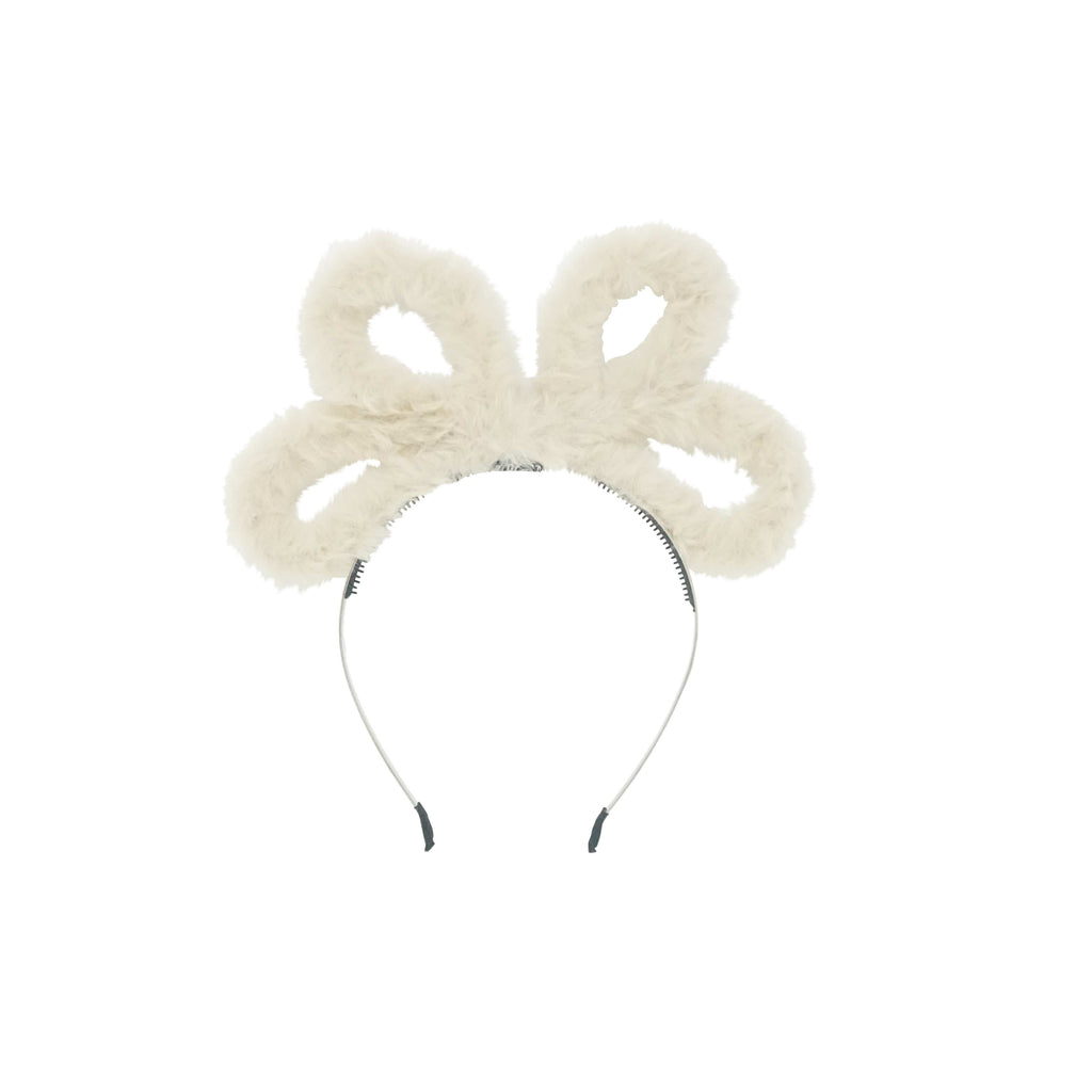Bandeau Headband Jellybeanzkids Bandeau Natural Wired Fur Bow Headband OS