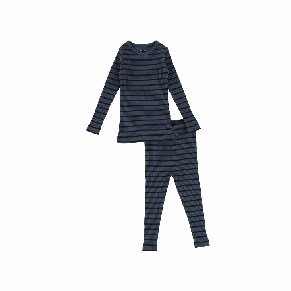 Bee&Dee Pajamas Jellybeanzkids Bee & Dee Ocean/Black Striped PJs