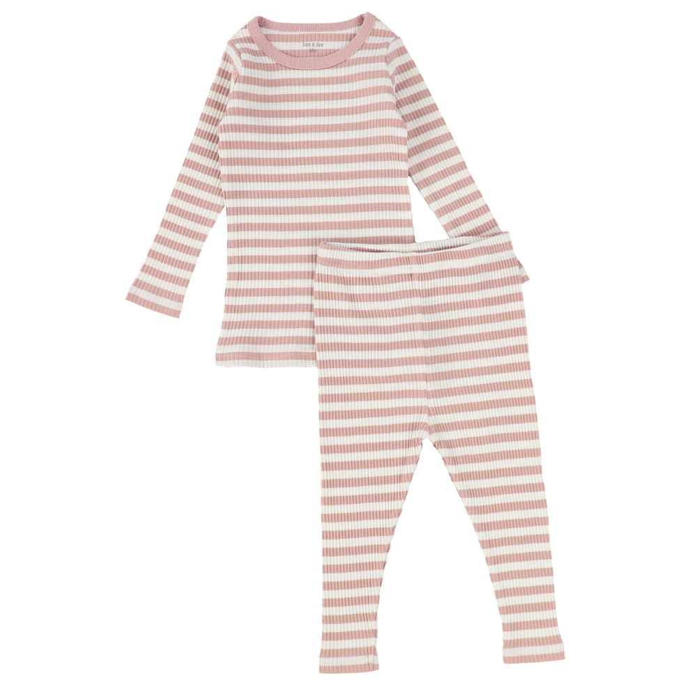 Bee & Dee Pink Striped Ribbed PJs