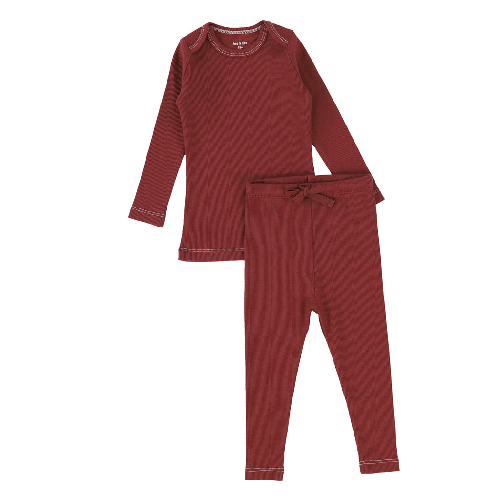 Bee&Dee Pajamas Jellybeanzkids Bee & Dee Rust Red Ribbed PJs