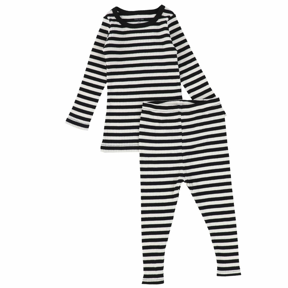 Bee & Dee White Striped Ribbed PJs
