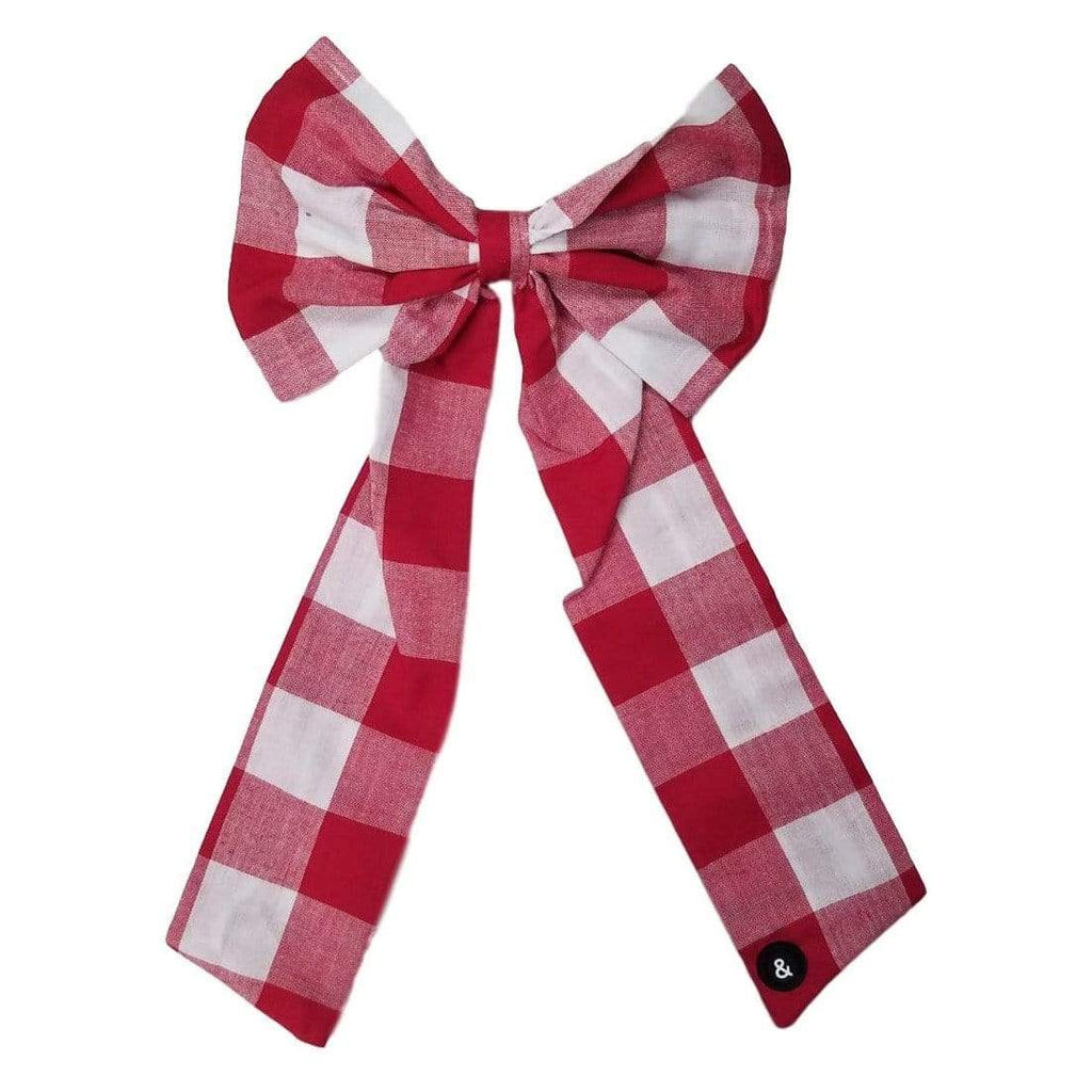 Blk&White NY Blk&White NY Large Red Gingham Bow  JellyBeanz Kids
