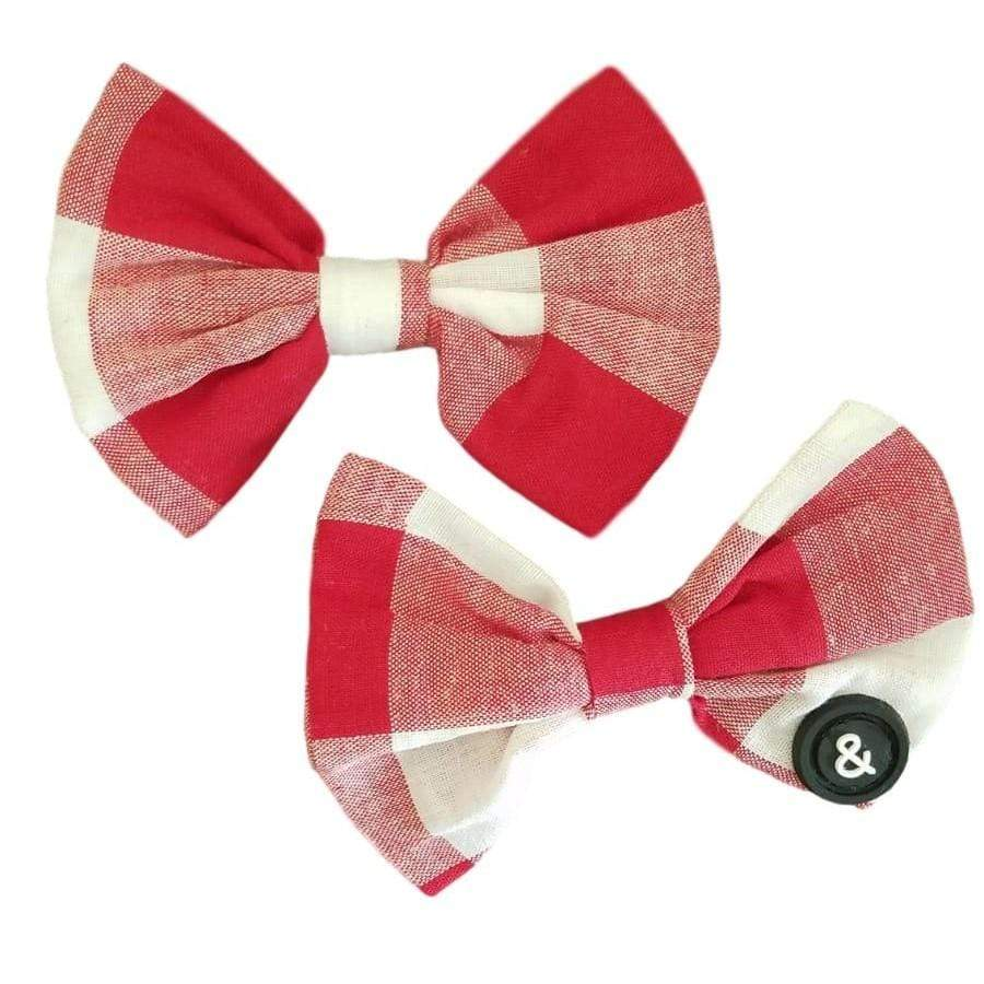 Blk&White NY Red Gingham Piggy Clips - JellyBeanz Kids