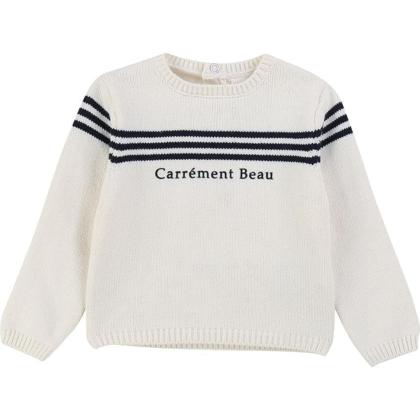 Carrement Beau Carrement Beau White Logo Sweater  JellyBeanz Kids
