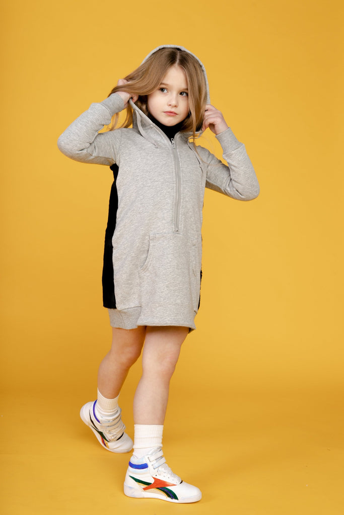 Crew Crew Fur Hooded Sweatdress  JellyBeanz Kids