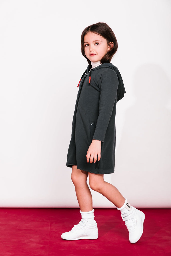 Crew Crew Hooded Zip Dress  JellyBeanz Kids