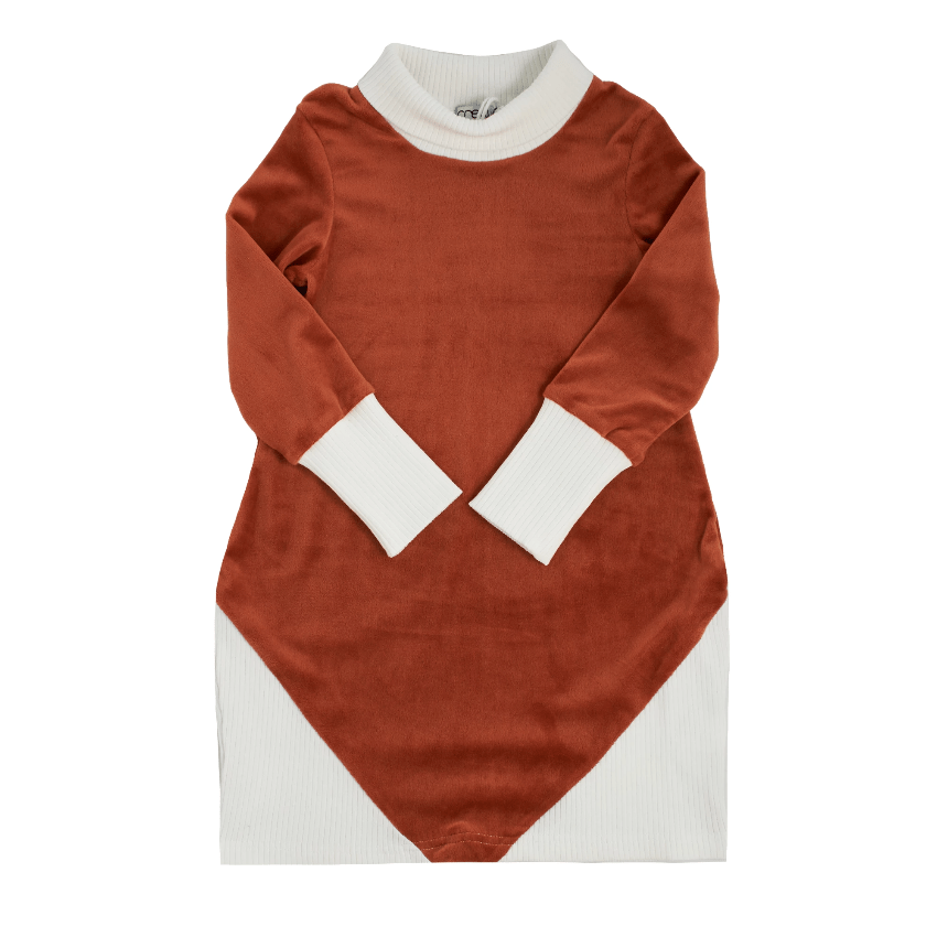 Crew Crew Rib Combo Turtleneck Dress  JellyBeanz Kids