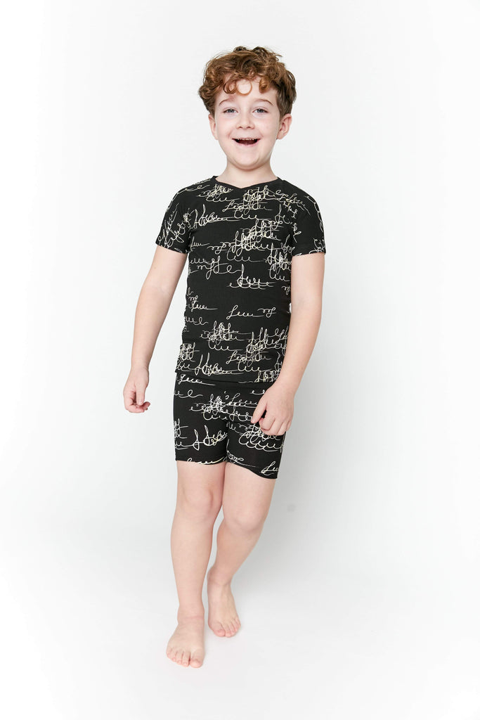 Crew Pajamas Jellybeanzkids Crew Black Scribble Short Lounge Set