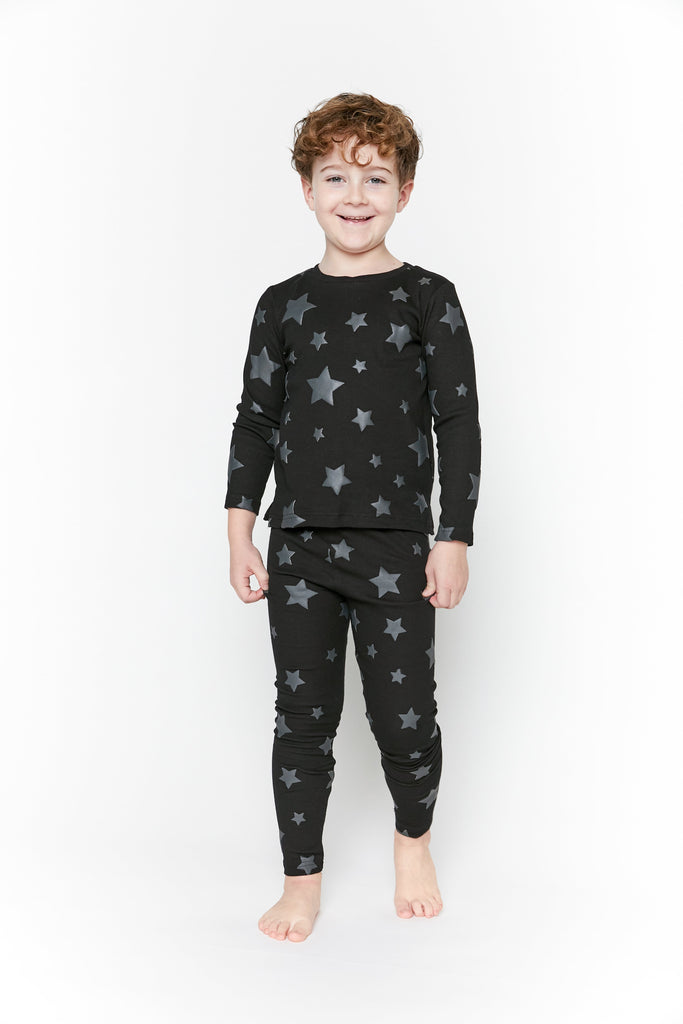 Crew Pajamas Jellybeanzkids Crew Black Star Lounge Set
