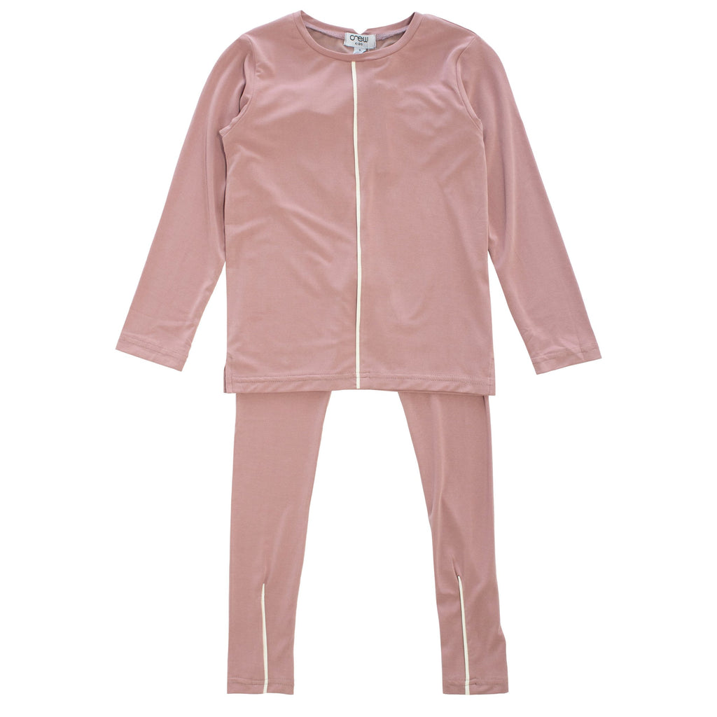 Crew Pajamas Jellybeanzkids Crew Blush Piped Lounge Set