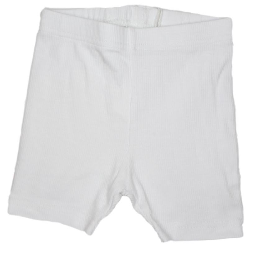 Crew White Ribbed Biker Short  JellyBeanz Kids