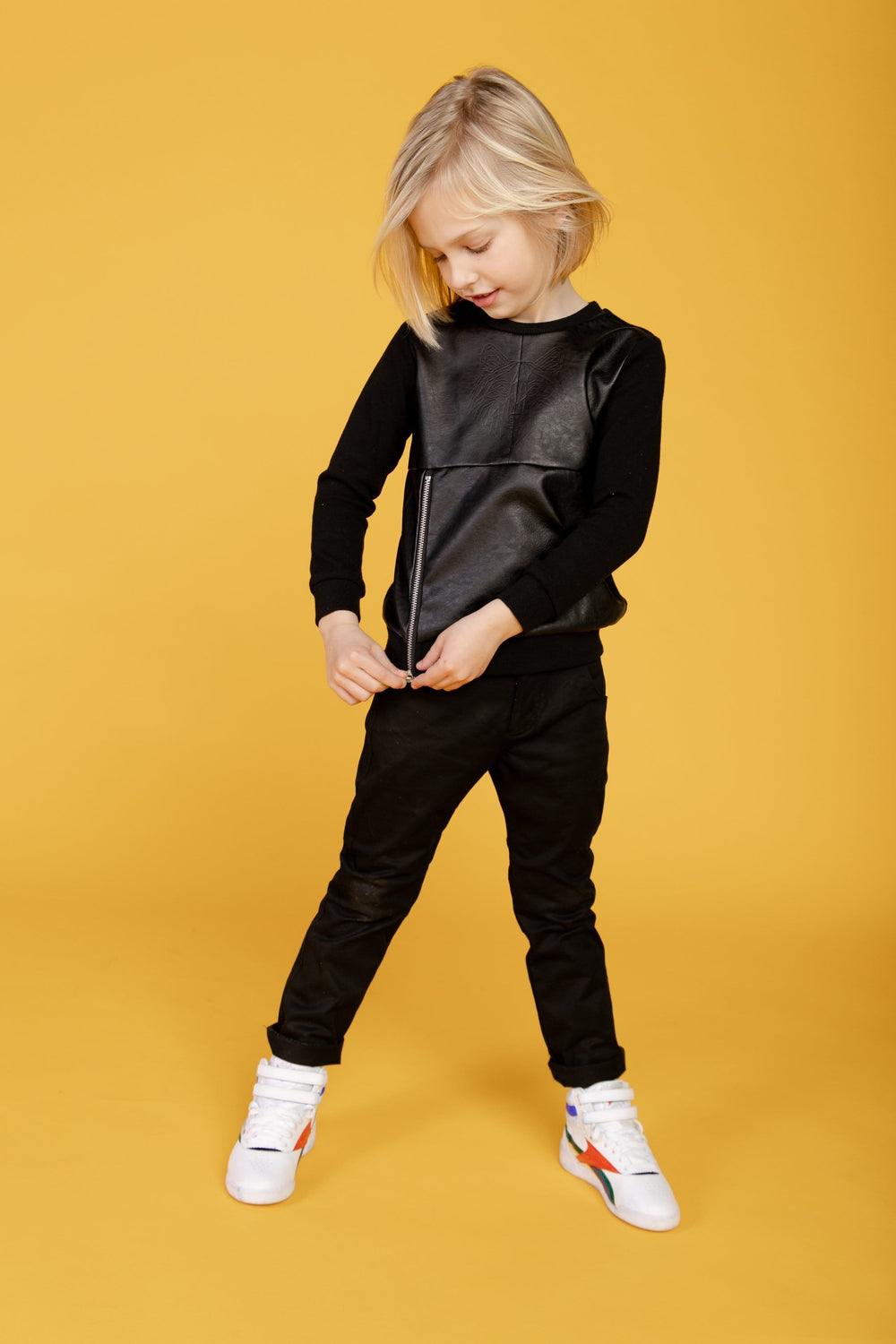 Crew Crew Leather Tiger Sweatshirt  JellyBeanz Kids