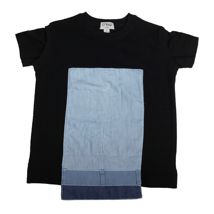 Crew Denim Panel Tee  JellyBeanz Kids