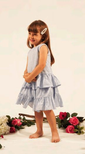 Fiorile Fiorile Pale Pink Ruffled Dress  JellyBeanz Kids