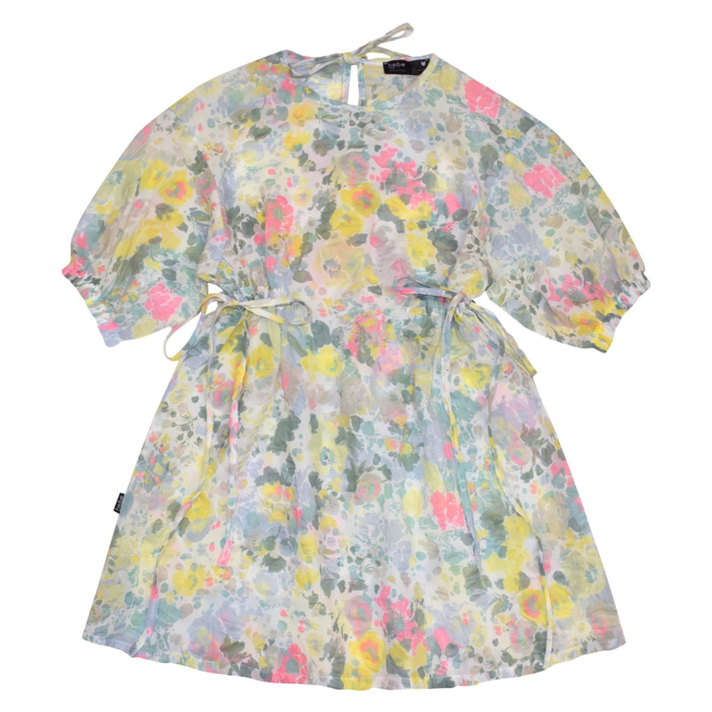 Hebe Dress Jellybeanzkids Hebe Watercolor Puffed Sleeve Dress