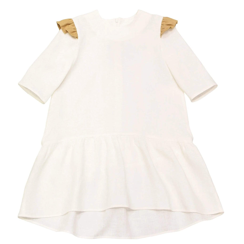 Hebe White Linen Dress With Sleeves - JellyBeanz Kids