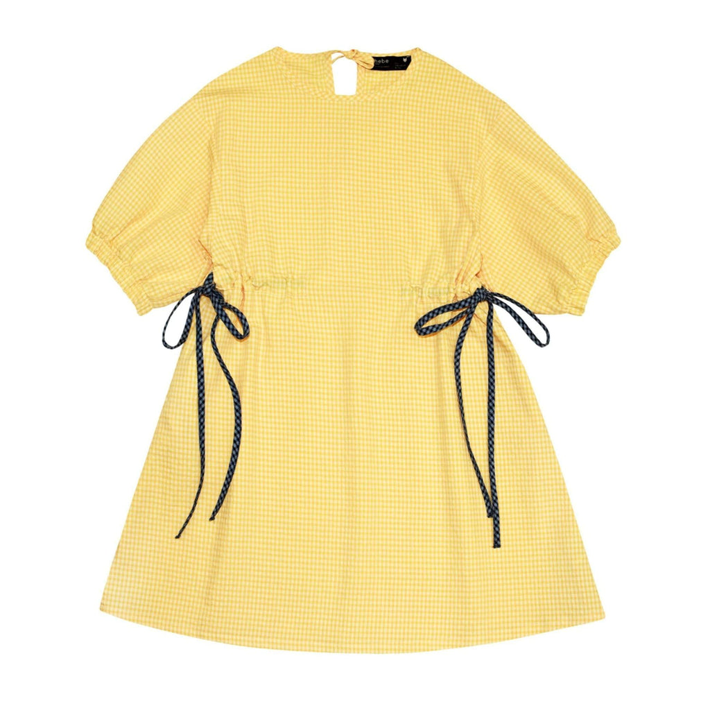 Hebe Dress Jellybeanzkids Hebe Yellow Check Puffed Sleeve Dress
