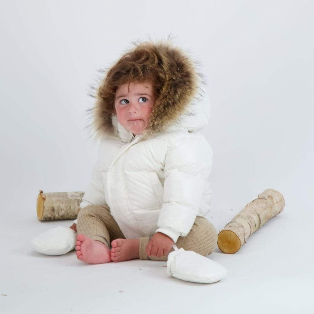 Scotch Bonnet Scotch Bonnet White Baby Jacket with Natural Fur  JellyBeanz Kids