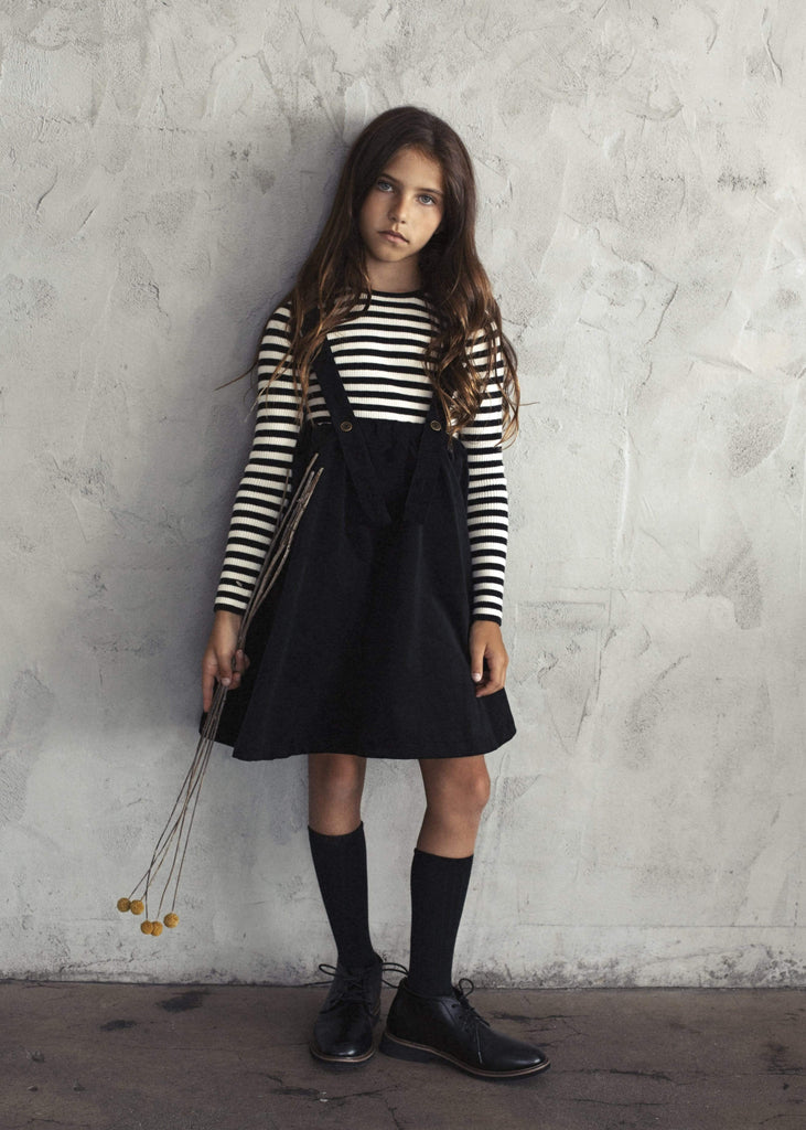 Kin+Kin Dress Jellybeanzkids Kin+Kin Black Cordoruy Suspender Skirt