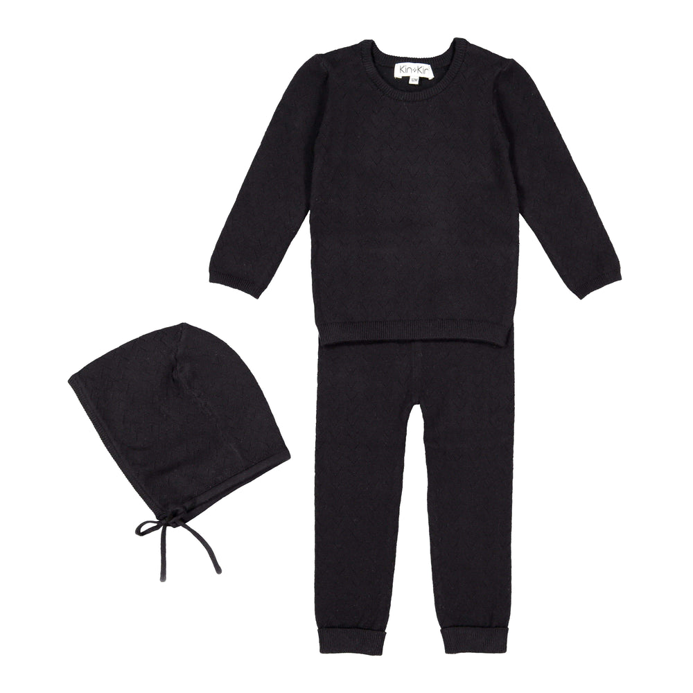 Kin+Kin Black Pointelle Long Set - JellyBeanz Kids