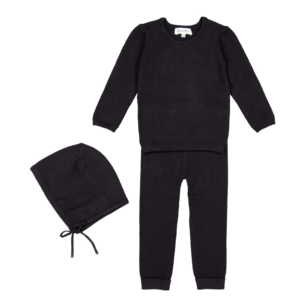 Kin+Kin Kin+Kin Black Pointelle Long Set  JellyBeanz Kids