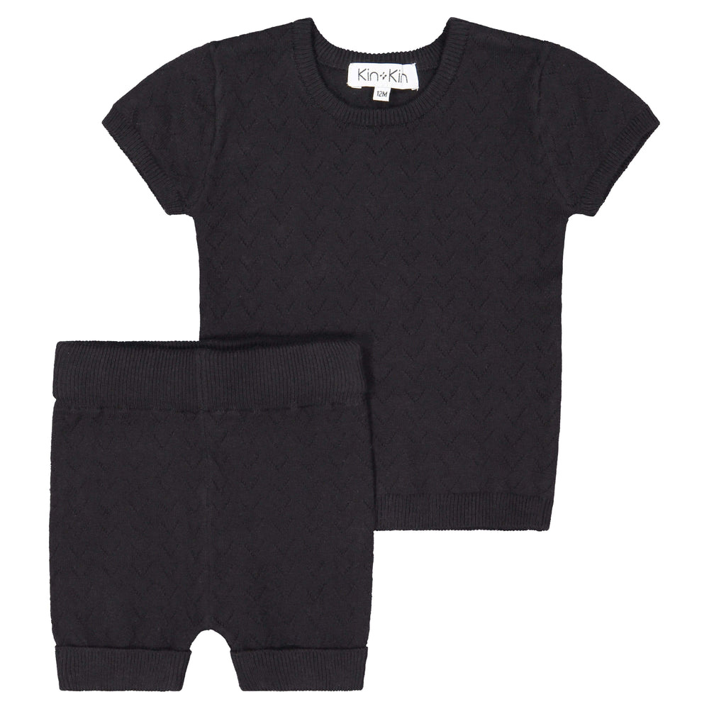 Kin+Kin Kin+Kin Black Pointelle Short Set  JellyBeanz Kids