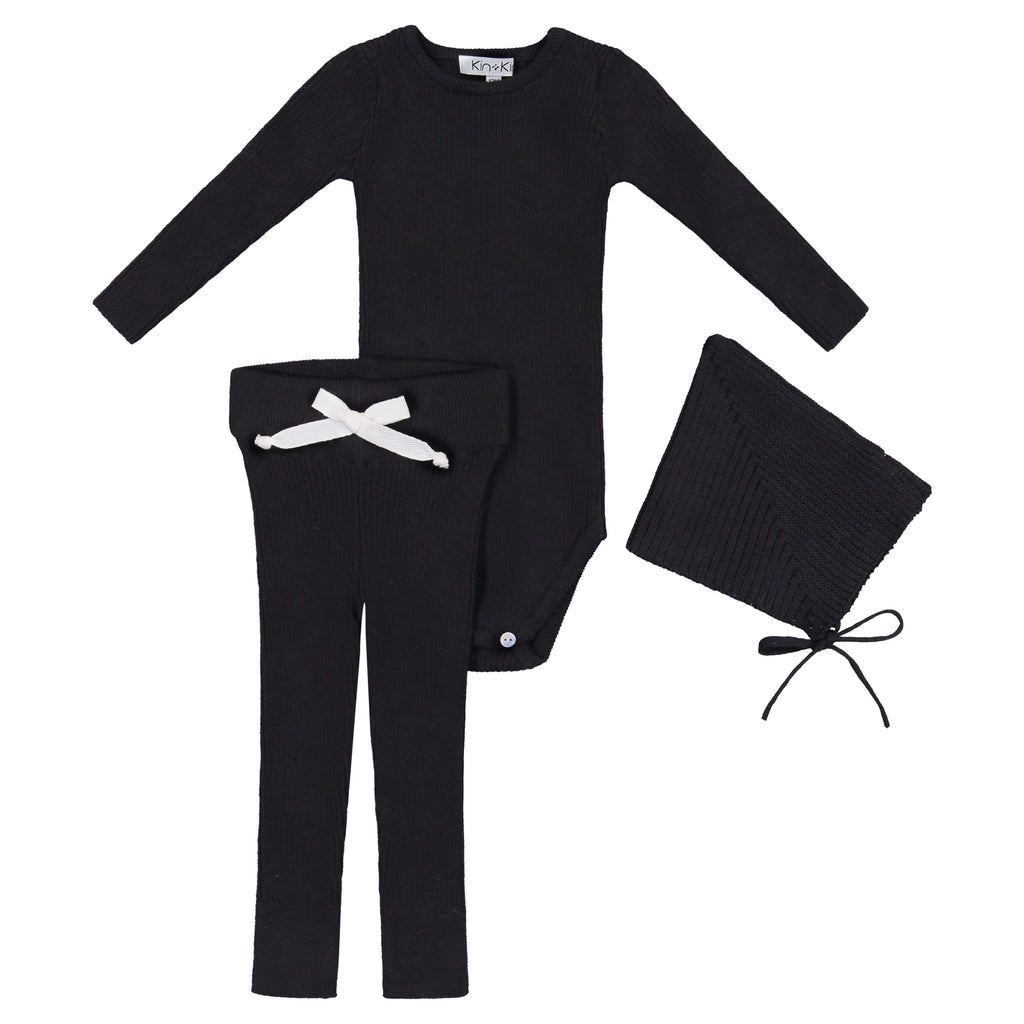 Kin+Kin Kin+Kin Black Ribbed Knit Set  JellyBeanz Kids