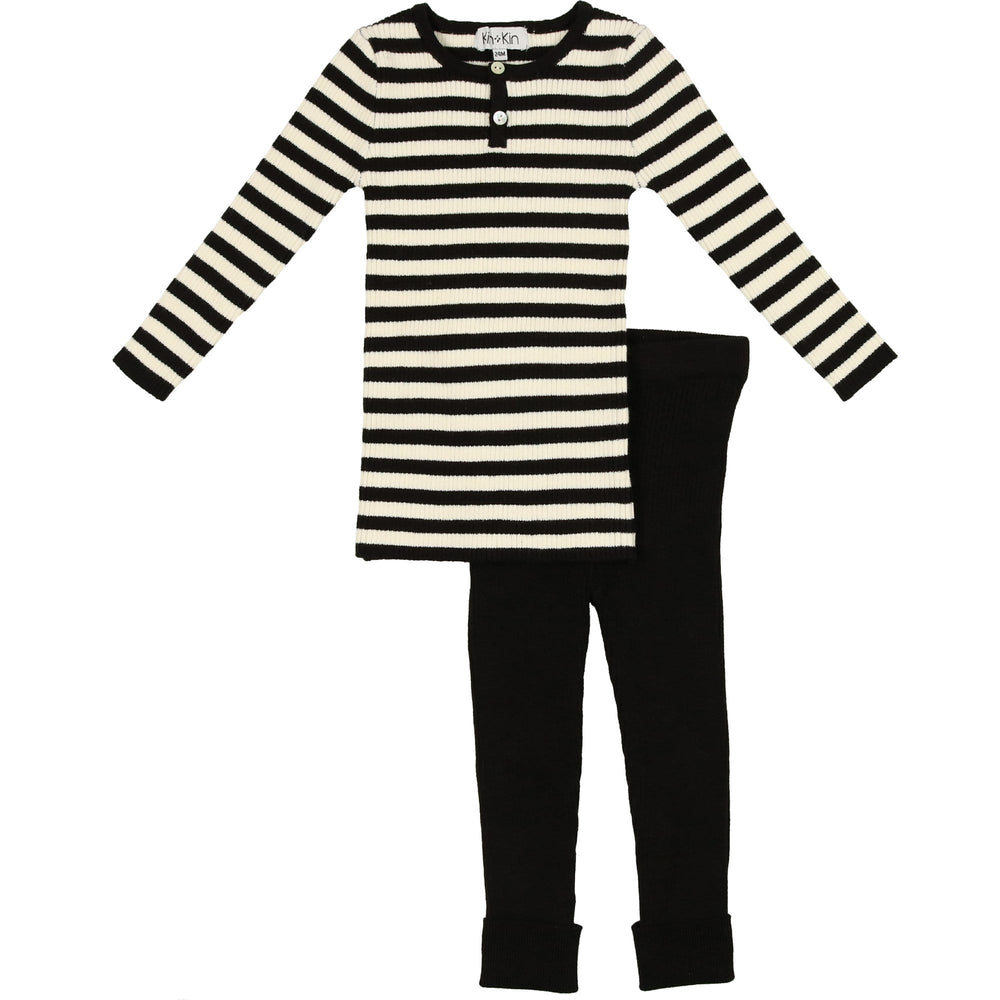 Kin+Kin Set Jellybeanzkids Kin+Kin Black Striped Henley Set
