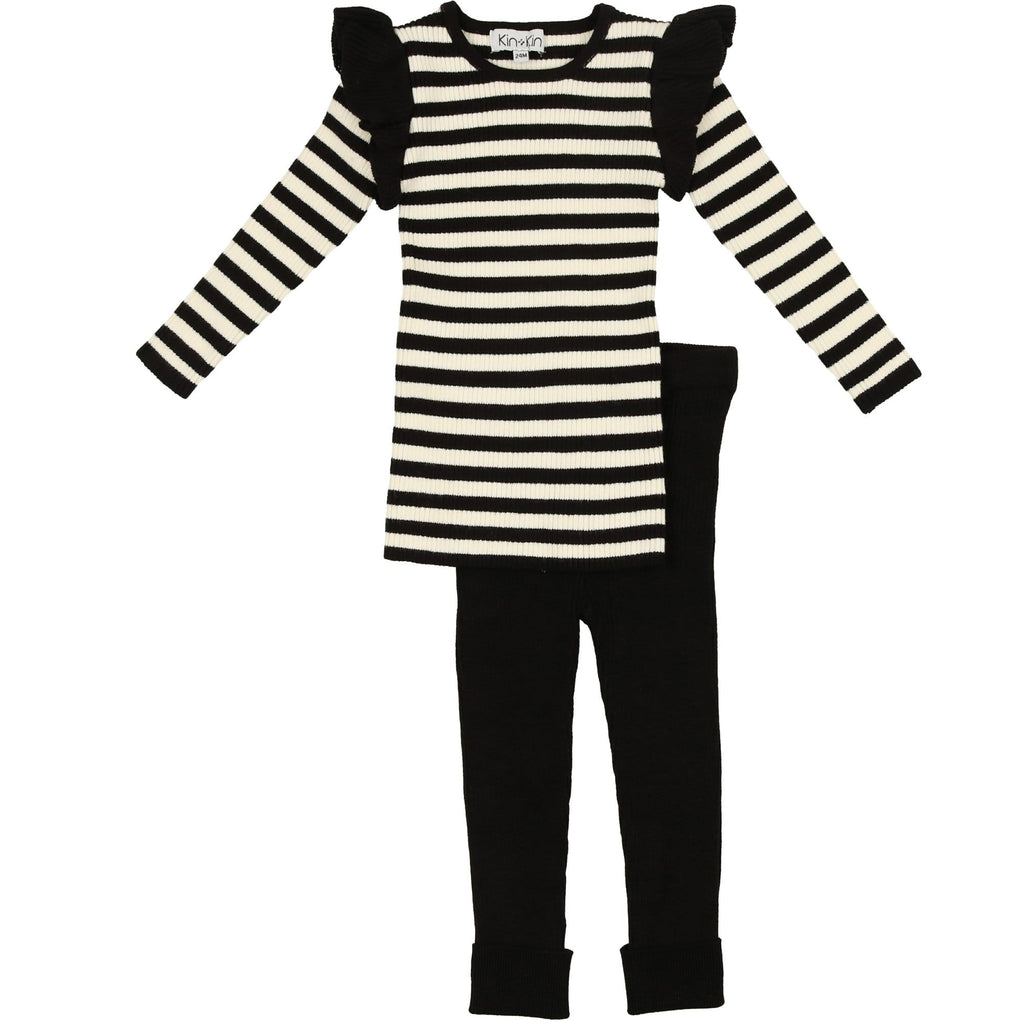 Kin+Kin Set Jellybeanzkids Kin+Kin Black Striped Ruffle Set
