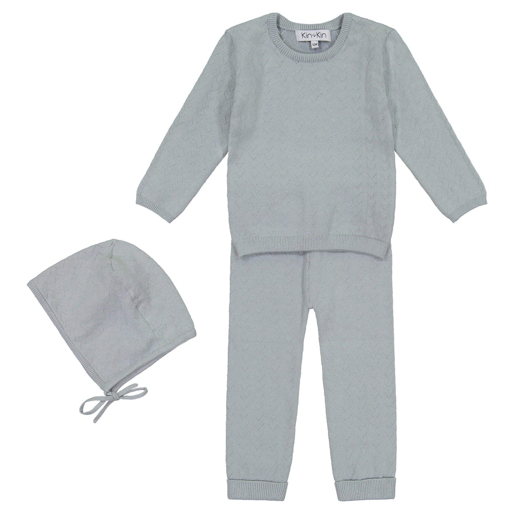 Kin+Kin Kin+Kin Dry Green Pointelle Long Set  JellyBeanz Kids