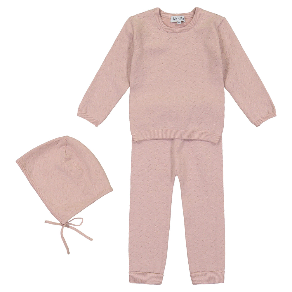 Kin+Kin Kin+Kin Rose Pointelle Long Set  JellyBeanz Kids