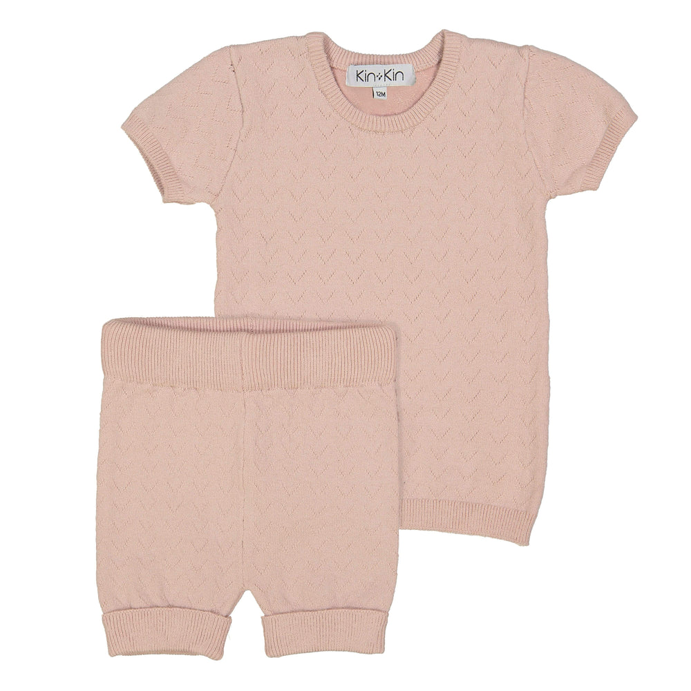 Kin+Kin Kin+Kin Rose Pointelle Short Set  JellyBeanz Kids