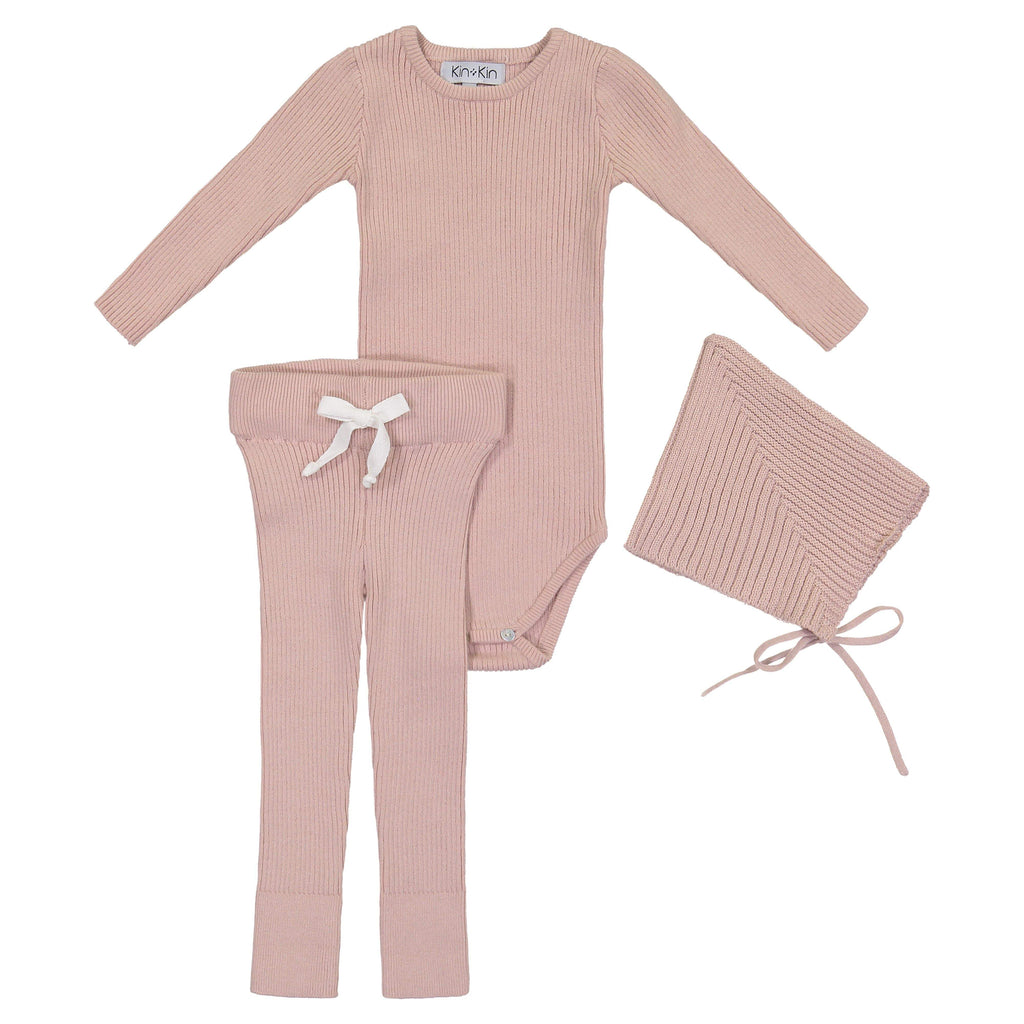 Kin+Kin Kin+Kin Rose Ribbed Knit Set  JellyBeanz Kids