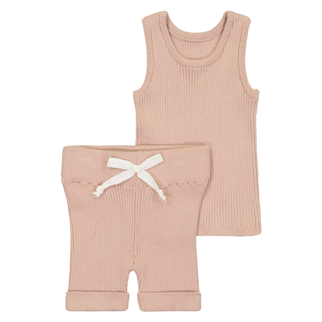 Kin+Kin Kin+Kin Rose Ribbed Knit Tank Set  JellyBeanz Kids