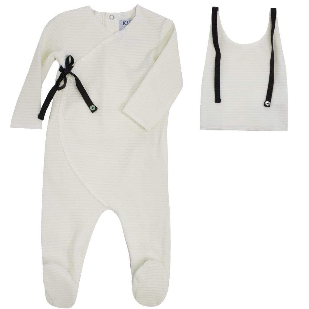 Kipp Footie Jellybeanzkids Kipp Off-White Rib Velour Wrap Footie